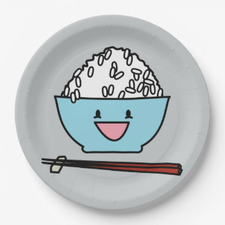 Happy bowl of white rice chopsticks carbs paper plate