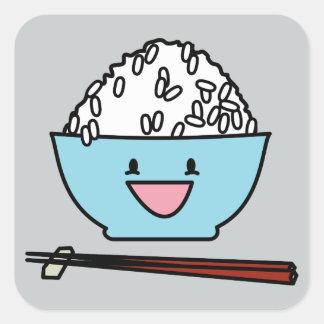 Happy bowl of white rice chopsticks carbs square sticker