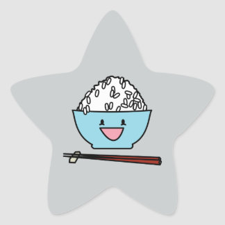Happy bowl of white rice chopsticks carbs star sticker