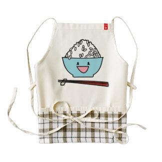 Happy bowl of white rice chopsticks carbs zazzle HEART apron