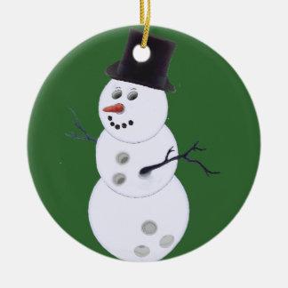 Happy Bowlidays Snowman Christmas Ornament
