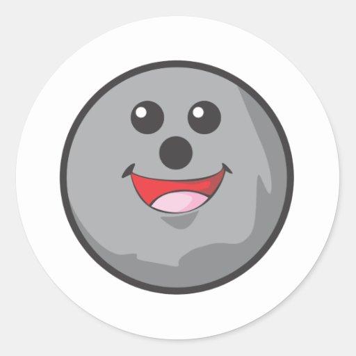 Happy Bowling Ball Classic Round Sticker