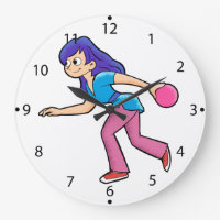 happy Bowling girl. Large Clock