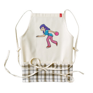 happy Bowling girl. Zazzle HEART Apron