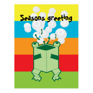 Happy box frog postcard