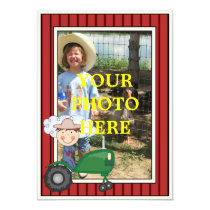 Happy Boy & Tractor - Kids' Party or Baby Shower Card
