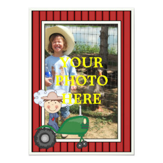Happy Boy & Tractor - Kids' Party or Baby Shower Personalized Invitation