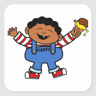 Happy Boy with Ice Cream Cartoon Image Square Sticker