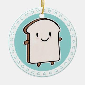Happy Bread Slice Ceramic Ornament