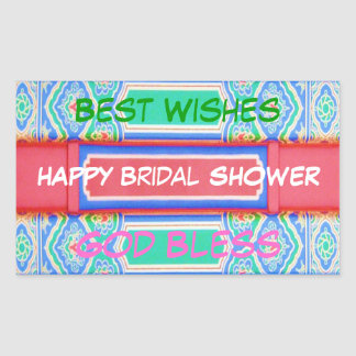 Happy BRIDAL Shower - Chinese Lucky Pattern Rectangular Sticker