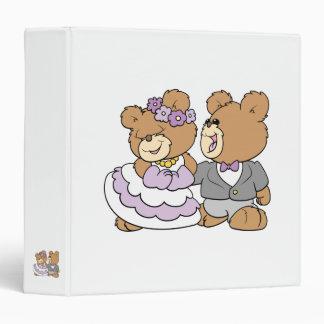 happy bride and groom cute teddy bears binder