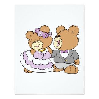 happy bride and groom cute teddy bears card