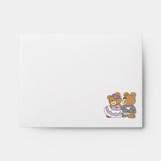 happy bride and groom cute teddy bears envelope