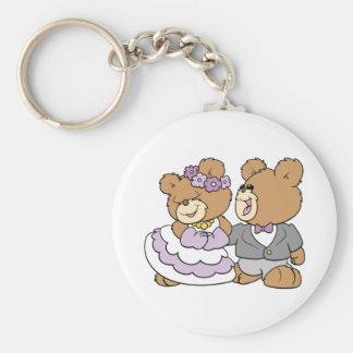 happy bride and groom cute teddy bears keychain