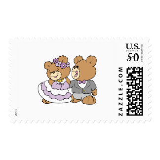 happy bride and groom cute teddy bears postage
