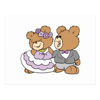 happy bride and groom cute teddy bears postcard