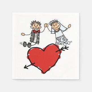 Happy Bride Groom High Five Heart Disposable Napkins
