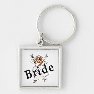 Happy Bride Silver-Colored Square Keychain