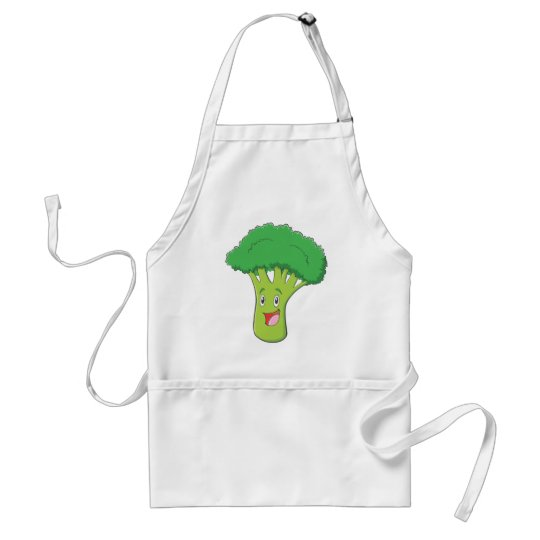 Happy Broccoli Vegetable Smiling Adult Apron