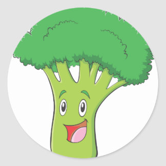 Happy Broccoli Vegetable Smiling Classic Round Sticker