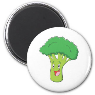 Happy Broccoli Vegetable Smiling 2 Inch Round Magnet