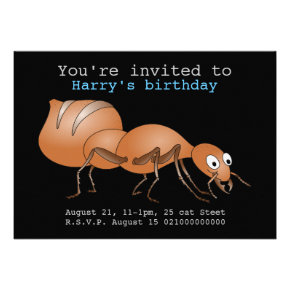 Happy brown ant party invitation