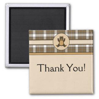 Happy Brown Bear Auburn Plaid Customizable Magnet