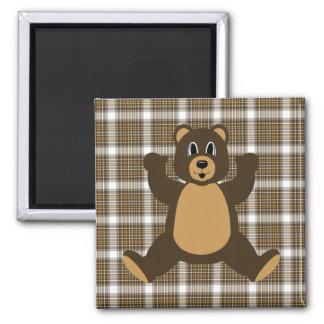Happy Brown Bear Auburn Plaid Magnet