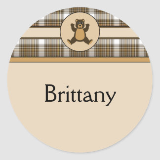 Happy Brown Bear Auburn Plaid Name Tag Classic Round Sticker