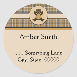 Happy Brown Bear Brown Plaid Address Label Classic Round Sticker