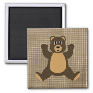 Happy Brown Bear Brown Plaid Magnet