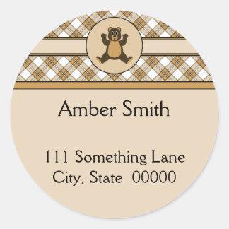 Happy Brown Bear Caramel Plaid Address Label Round Sticker