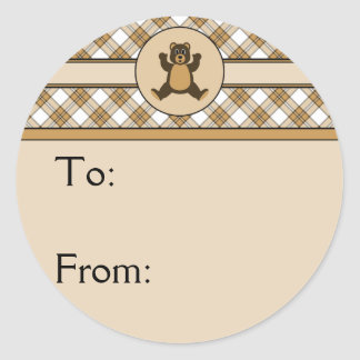 Happy Brown Bear Caramel Plaid Gift Tag Sticker
