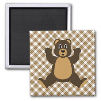 Happy Brown Bear Caramel Plaid Magnet