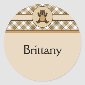 Happy Brown Bear Caramel Plaid Name Tag Round Sticker