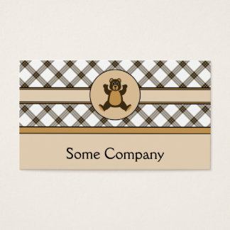 Happy Brown Bear Cocoa Plaid Business Card