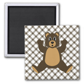 Happy Brown Bear Cocoa Plaid Magnet
