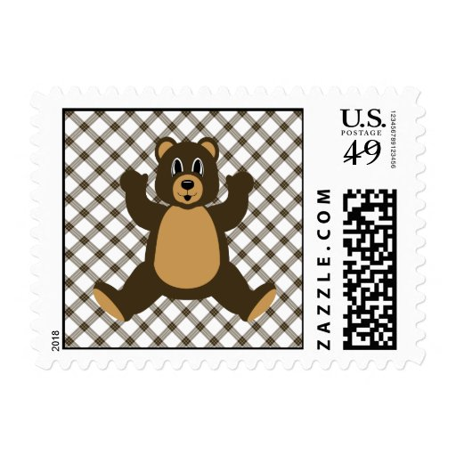 Happy Brown Bear Cocoa Plaid Stamps