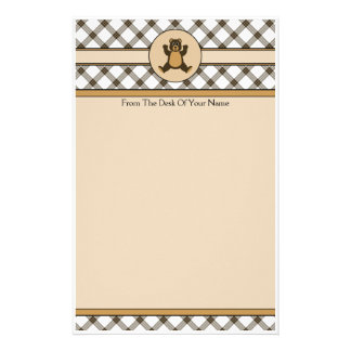 Happy Brown Bear Cocoa Plaid Stationery