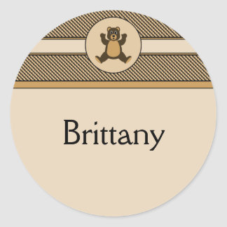 Happy Brown Bear Color Swatches Name Tag Classic Round Sticker