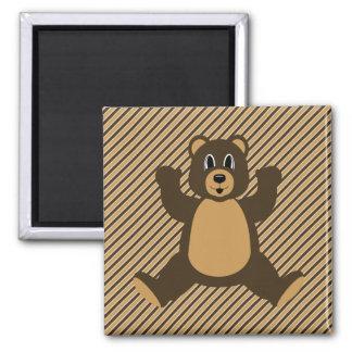 Happy Brown Bear Diagonal Stripes Magnet