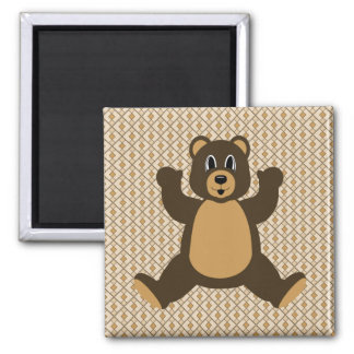 Happy Brown Bear Diamonds Magnet