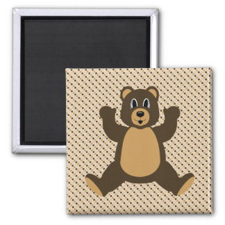 Happy Brown Bear Dots Magnet