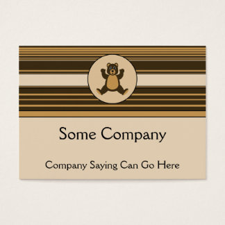 Happy Brown Bear Horizontal Stripes Business Card