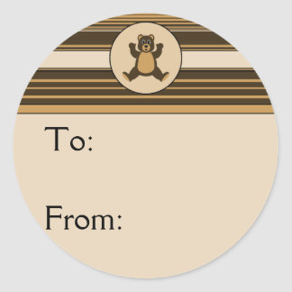 Happy Brown Bear Horizontal Stripes Gift Tag Classic Round Sticker