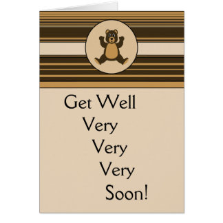 Happy Brown Bear Horizontal Stripes Greeting Card