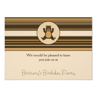 Happy Brown Bear Horizontal Stripes Invitation