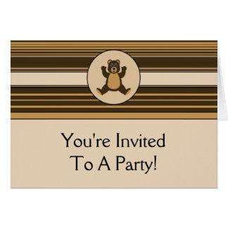 Happy Brown Bear Horizontal Stripes Invitation Cards