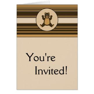 Happy Brown Bear Horizontal Stripes Invitation Greeting Cards