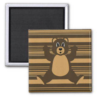 Happy Brown Bear Horizontal Stripes Magnet
